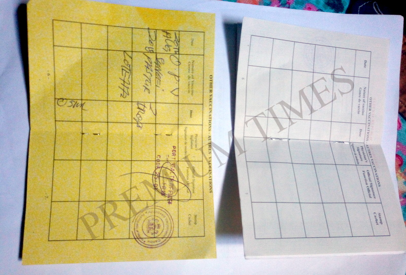 Yellow cards obtained from the airport