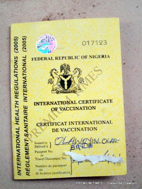 Tha fake yellow fever card