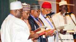 Cross section of National Commissioners, National Population Commission National Population Commission taking Oath of Office before President Muhammadu Buhari during the Federal Executive Council Meeting at the Presidential Villa in Abuja on Wednesday (7/11/18)