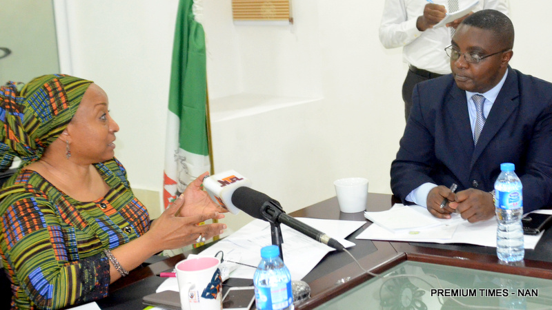 Special Adviser to the President on Social Investment Programme, Mrs Maryam Uwais (L), with Leader of Delegation/Chief of Staff, Ministry of Social Affairs in Democratic Republic of Congo, Prof. John Mugabushaka, during the latter's visit to conduct a study tour on existing social programme interventions in Nigeria, on Monday in Abuja (5/11/18).