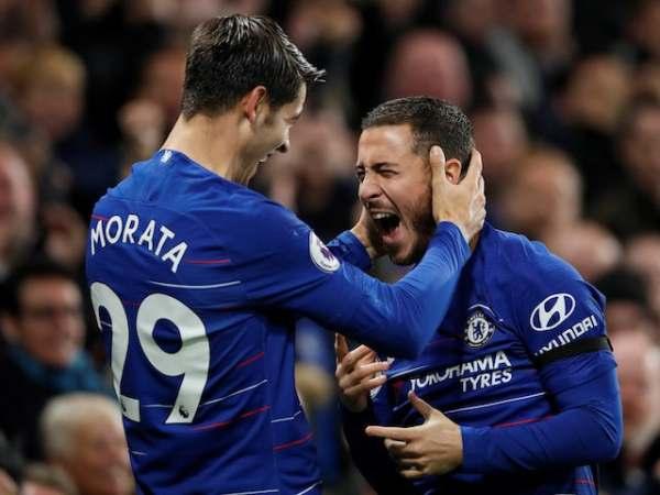 Alvaro Morata and Eden Hazard celebrates Chelsea's goals