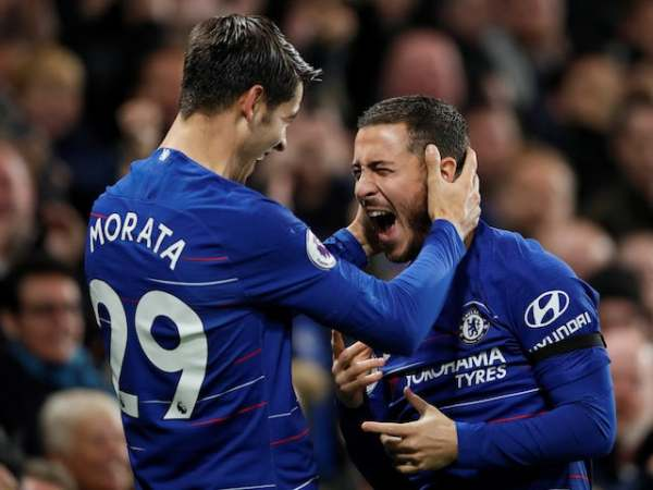 Alvaro Morata and Eden Hazard celebrates Chelsea's goals