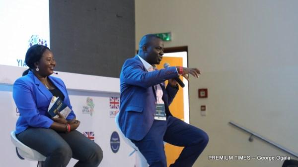 Hon. David Ombugadu AKA Davematics, speaking at the event.