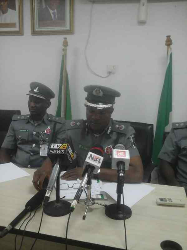 The customs spokesperson during the breakfast meeting Photo by Kingsley Adeniyi