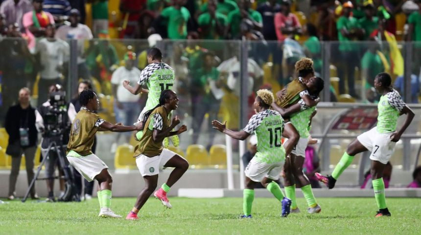 Falcons jubilate after winning the AWCON2018