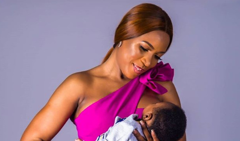 Linda Ikeji and her new born. [PHOTO CREDIT: Official Instagram page of Linda Ikeji]