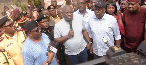 Lagos State Governor, Mr. Akinwunmi Ambode (middle), addressing journalists shortly after a meeting with Heads of Security Agencies and Officials of the Lagos State Traffic Management Authority (LASTMA) at the LASTMA Yard, Oshodi, on Sunday, December 9, 2018. With him (L-R): General Manager, LASTMA, Mr. Wale Musa; CEO of LASTMA, Mr. Chris Olakpe; Commissioner of Police, Mr. Edgal Imohimi; Commissioner for Transportation, Mr. Ladi Lawanson; Attorney General & Commissioner for Justice, Mr. Adeniji Kazeem and Chairman, Lagos Neighbourhood Safety Corp (LNSC), Mr. Israel Ajao.