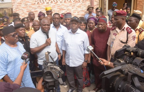 Lagos State Governor, Mr. Akinwunmi Ambode (3rd left), addressing journalists shortly after a meeting with Heads of Security Agencies and Officials of the Lagos State Traffic Management Authority (LASTMA) at the LASTMA Yard, Oshodi, on Sunday, December 9, 2018. With him (L-R): CEO, LASTMA, Mr. Chris Olakpe; Commissioner of Police, Mr. Edgal Imohimi; Commissioner for Transportation, Mr. Ladi Lawanson; Attorney General & Commissioner for Justice, Mr. Adeniji Kazeem; Chairman, Lagos Neighbourhood Safety Corp (LNSC), Mr. Israel Ajao and Lagos State Sector Commander, Federal Road Safety Corp (FRSC), Mr. Hyginus Omeje.