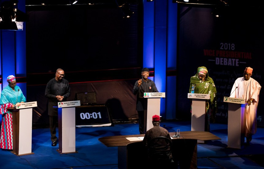 From left: Umar Gesto of Young Progressives Party (YPP); Peter Obi of Peoples Democratic Party (PDP); Yemi Osinbajo of All Progressives Congress (APC); Khadija Abdullahi of Alliance for New Nigeria (ANN); and Ganiyu Galadima of Allied Congress Party of Nigeria (ACPN), during the 2018 Vice Presidential Debate organise by Nigeria Election Debates Group in Abuja on Friday (14/12/18) 06665/14/12/2018/Hogan Bassey/BJO/NAN
