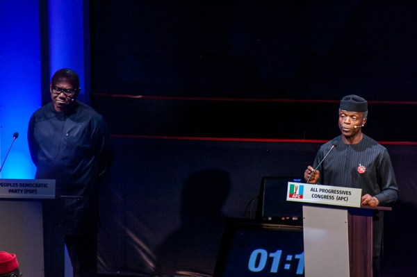 From left: Peter Obi of Peoples Democratic Party (PDP) and Yemi Osinbajo of All Progressives Congress (APC), during the 2018 Vice Presidential Debate organise by Nigeria Election Debates Group in Abuja on Friday (14/12/18) 06667/14/12/2018/Hogan Bassey/BJO/NAN