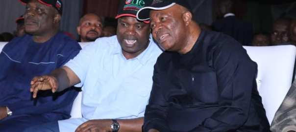Senator Godswill Akpabio (right) with Mr Nsima Ekere, the APC governorship candidate in Akwa Ibom during a birthday concert for the senator in Ukana