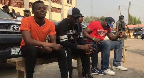 Small Doctor (pictured 2nd from left) was paraded alongside the other suspects at the police command in Lagos
