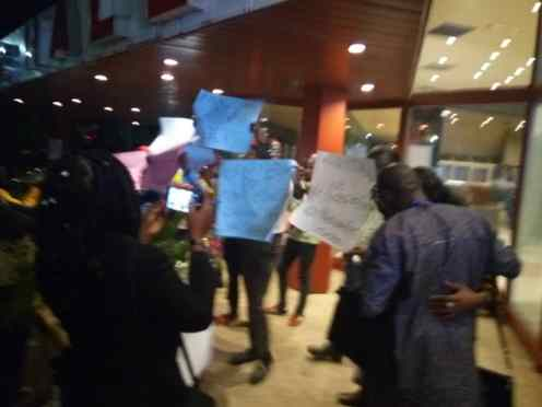 Sowore supporters protest outside the venue of vice presidential candidate debate, demand his inclusion