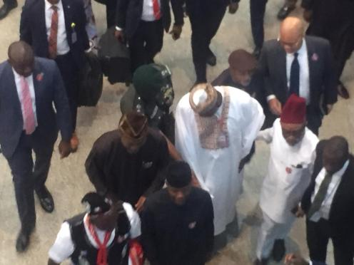 Vice President Yemi Osinbajo arrives the National Assembly