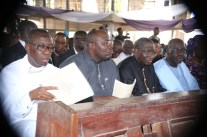 From Left: Delta State Governor, Senator Ifeanyi Okowa, Bayelsa State Governor, Rt Hon Seriake Dickson, former President, Dr Goodluck Jonathan, and Edo States Governor, Godwin Obaseki, during the funreral Mass in honour of Late Chief Anthony Anenih at Uromi, Edo State. PIX: BRIPIN ENARUSAI
