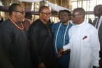 From Right: Delta State Governor, Senator Ifeanyi Okowa, Chief Mike Ozekhome (SAN), Vice Presidential Candidate, Peoples Democratic Party (PDP), Mr Peter Obi and a former Minister of Works,Chief Mike Ononolememe, during the funreral Mass in honour of Late Chief Anthony Anenih at Uromi, Edo State. PIX: BRIPIN ENARUSAI
