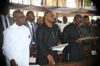 From Right: Former President, Dr Goodluck Jonathan, Vice Presidential Candidate, Peoples Democratic Party (PDP), Mr Peter Obi, and Delta State Governor, Senator Ifeanyi Okowa, during the funreral Mass in honour of Late Chief Anthony Anenih at Uromi, Edo State. PIX: BRIPIN ENARUSAI