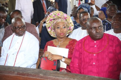 From Right: Former Governor, Chief and Mrs James Ibori, and the immediate past Governor of Delta State, Dr Emmanuel Uduaghan, during the funreral Mass in honour of Late Chief Anthony Anenih at Uromi, Edo State. PIX: BRIPIN ENARUSAI