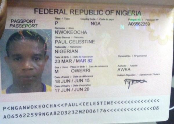Celestine Nwokeocha's Passport