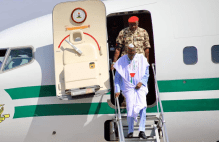 President Muhammadu Buhari arriving at Maiduguri, Borno State capital ahead of his presidential campaign.