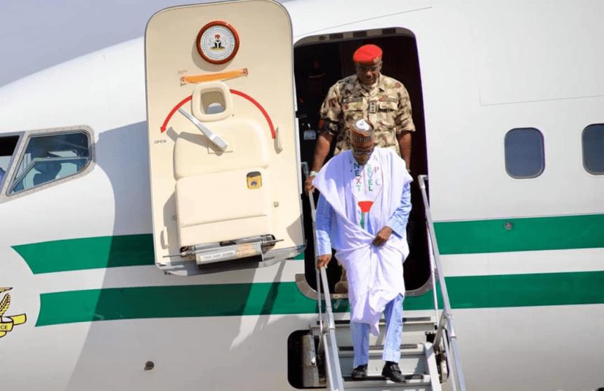 President Muhammadu Buhari arriving at Maiduguri, Borno State capital ahead of his presidential campaign.