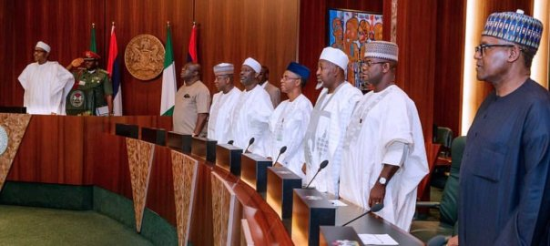 President Muhammadu Buhari signs the Executive Order No. 007 of 2019 on the Road Infrastructure Development and Refurbishment Investment Tax Credit Scheme, at the Council Chambers, State House, Abuja