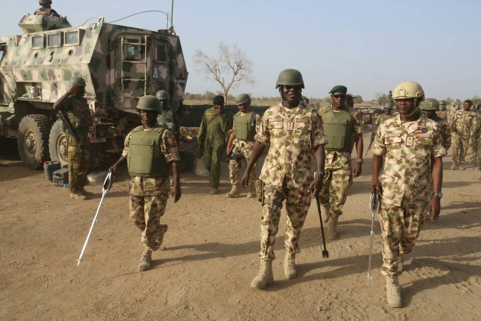 Buratai and soldiers - Buratai flags off exercise Ayem Akpatuma II in Taraba