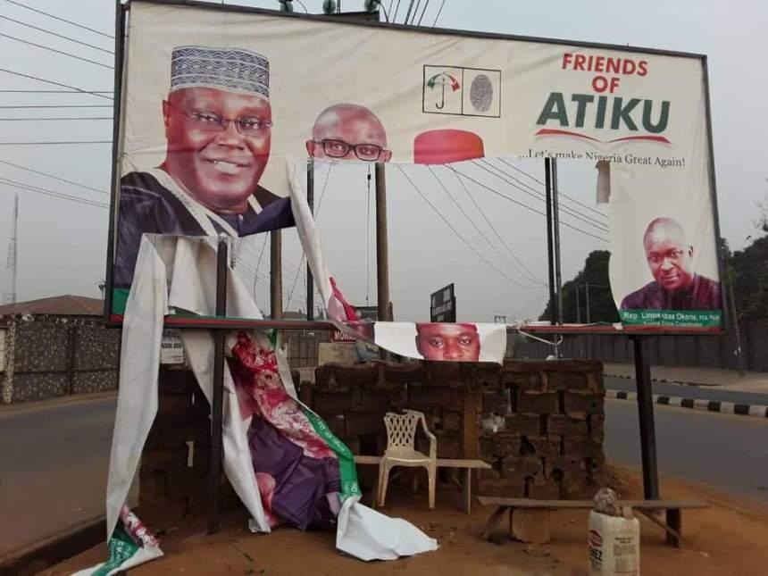 The damaged billboard in Abakaliki