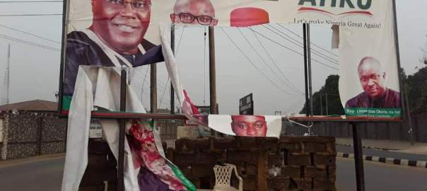 The damaged billboard in Abakaliki