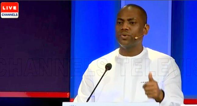 Fela Durotoye speaking at the presidential debate. [PHOTO CREDIT: CHannels Twitter handle]