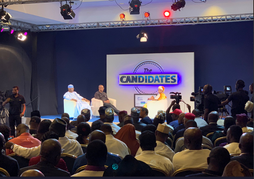 "PDP presidential candidate, Atiku Abubakar and his vice, Peter Obi on ""The Candidates"". [PHOTO CREDIT: Official Twitter handle of Peter Obi]"