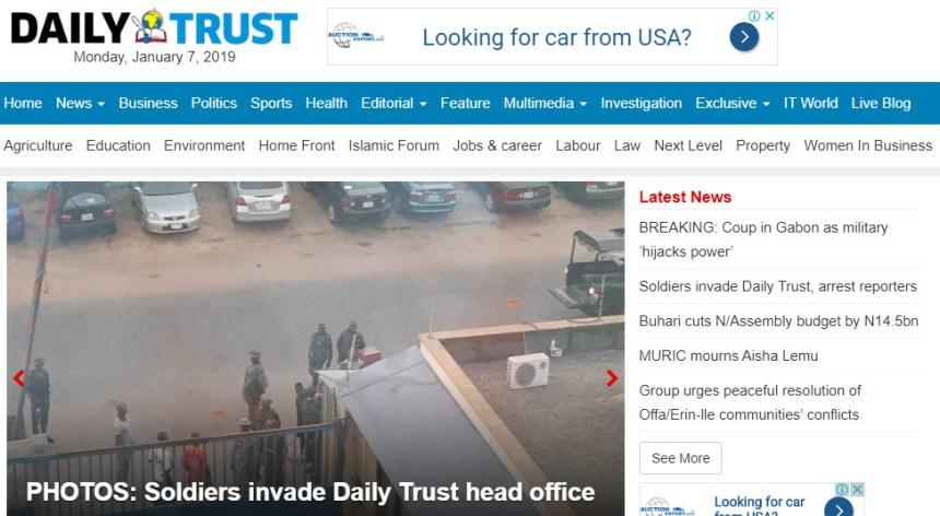 A screen shot of Daily Trust website. [PHOTO CREDIT: Dailytrust.com.ng]
