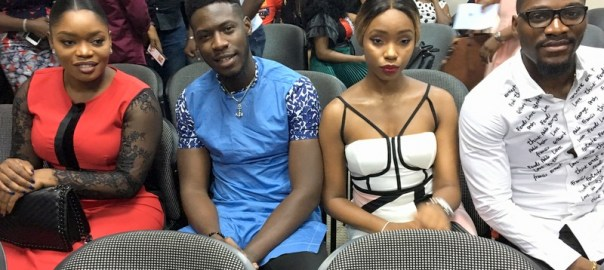 BB Naija alumni, Bisola Ayoola, Somma, Bambam & Tobi Bakare pictures at the media briefing in Lagos on Tuesday.