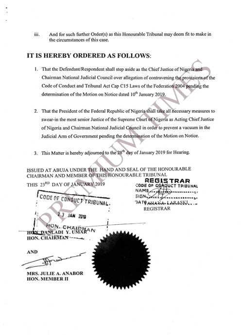 The tribunal order that led to the suspension of Justice Walter Onnoghen by President Buhari