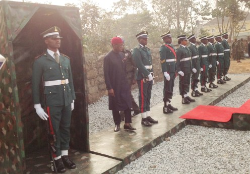Gov. Ifeanyi Okowa of Delta (2nd, L) inspecting the guard of honour during the inauguration of the 63rd Brigade Nigerian Army, along Anwai Road, Opposite Government House in Asaba on Thursday (10/1/19). 00257/10/1/2019/Ifeanyi Olannye/HB/NAN