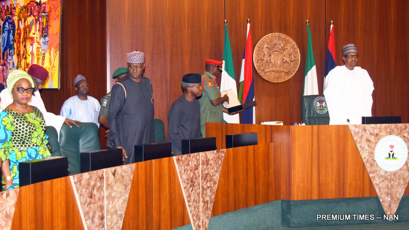 FILE PHOTO: From left: Head of Service of the Federation, Mrs Winifred Oyo-Ita; Chief of Staff, Alhaji Abba Kyari; Secretary to the Government of the Federation, Mr Boss Mustapha; Vice President Yemi Osinbajo and President Muhammadu Buhari, during emergency Federal Executive Council Meeting at the Presidential Villa in Abuja on Tueesday (15/1/19) 00439/15/01/2019/Callistus Ewelike/JAU/NAN