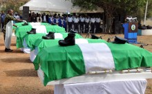 Remains of the five Nigerian Air Force officers being laid before their burial at the Military Cemetery, Karmajiji in Abuja on Tuesday (8/1/19). The officers died in a plane crash on Jan. 2, 2019, in the cause of their duty at Damansak in Borno. 00184/8/1/2019/Anthony Alabi/BJO/NAN
