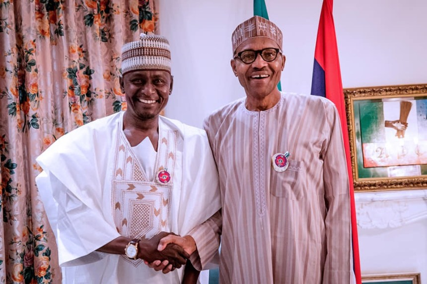 President Muhammadu Buhari with Senator Babayo Gamawa at the presidential villa, Abuja, on Tuesday, January 8, 2019.