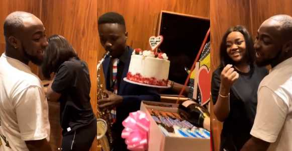 Davido suprised Chioma with boxes of chocolate on Valentines Day