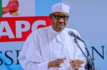 President Muhammadu Buhari at the APC Caucus meeting today