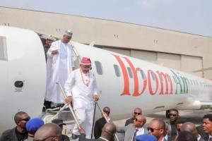 Governor Udom Emmanuel, with Senate President, Bukola Saraki, stepping down from Ibom Air on Wednesday.