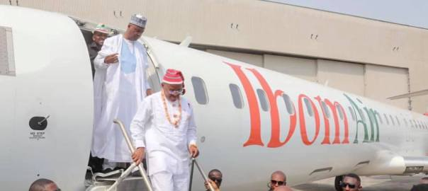 Governor Udom Emmanuel, with Senate President, Bukola Saraki, stepping down from Ibom Air on Wednesday.
