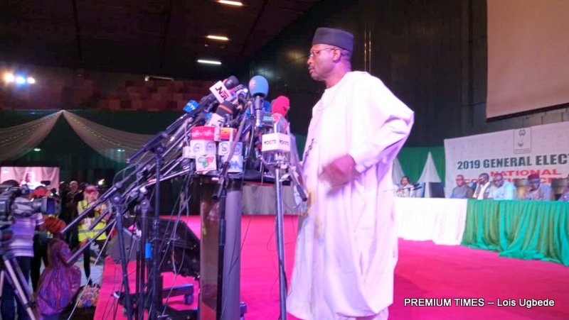 INEC Chairman, Mahmood Yakubu at the Press briefing