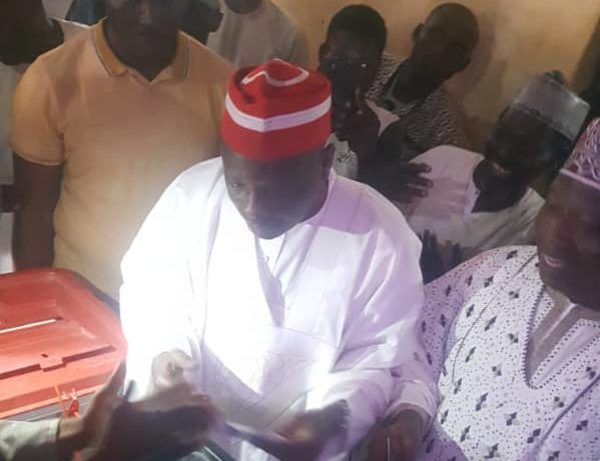1:25 p.m. Rabiu Kwankwaso votes at his Tundu Polling Unit in Kwankwaso Ward of Madobi LGA of Kano State. Mr Kwankwaso is a former Kano State governor.