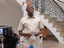 The National Chairman of the All Progressives Congress (APC), Adams Oshiomhole, addressing the press.