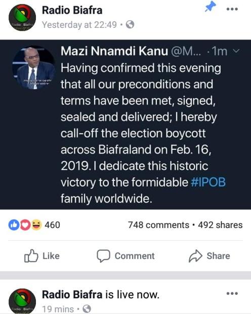 Pics of Nnamdi kanu boycott call off on radio biafra Facebook page