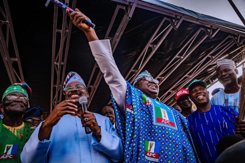 FILE PHOTO: Chief Akin Oke, Oyo APC Chairman, Gov. Ajimobi and the APC gubernatorial candidate, Adelabu