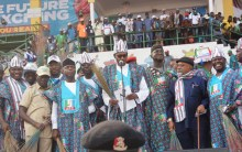 L-R: Lagos State Governor, Mr. Akinwunmi Ambode; National Chairman, All Progressives Congress (APC), Comrade Adams Oshiomhole; Vice President, Prof. Yemi Osinbajo; President Muhammadu Buhari; Minister of Power, Works and Housing, Mr. Babatunde Fashola; Minister of Labour and Productivity, Sen. Chris Ngige; former interim National Chairman of APC, Chief Bisi Akande and others during the APC Presidential Campaign at the Teslim Balogun Stadium, Surulere, Lagos, on Saturday, February 9, 2019.