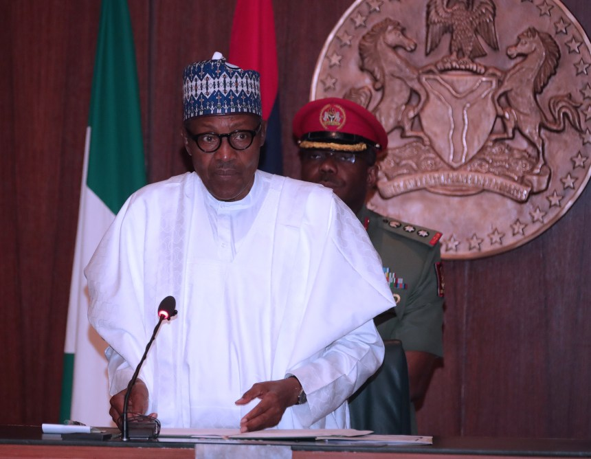 PRESIDENT BUHARI PRESIDES OVER SIGN OF NSEZCOM AND ITS INVESTMENT PARTNERS 0A. President Muhammadu Buhari Speaking during the signing of agreements between Afreximbank, BOI and NSIA with Nigeria Special Economic Zones Investment Company (NSEZCOM) held at the Council Chambers, State House in Abuja. PHOTO; SUNDAY AGHAEZE. FEB 8, 2019