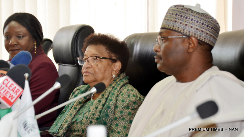 From left: National Commissioner of INEC, Prof. Antonia Okoosi-Simbine; Head of ECOWAS Election Observer Mission to Nigeria, Ellen Johnson-Sirleaf; and Chairman of INEC, Prof. Mahmood Yakubu, during the visits of delegation of ECOWAS Election Observer Mission to Nigeria, on Wednesday in Abuja (6/2/19).